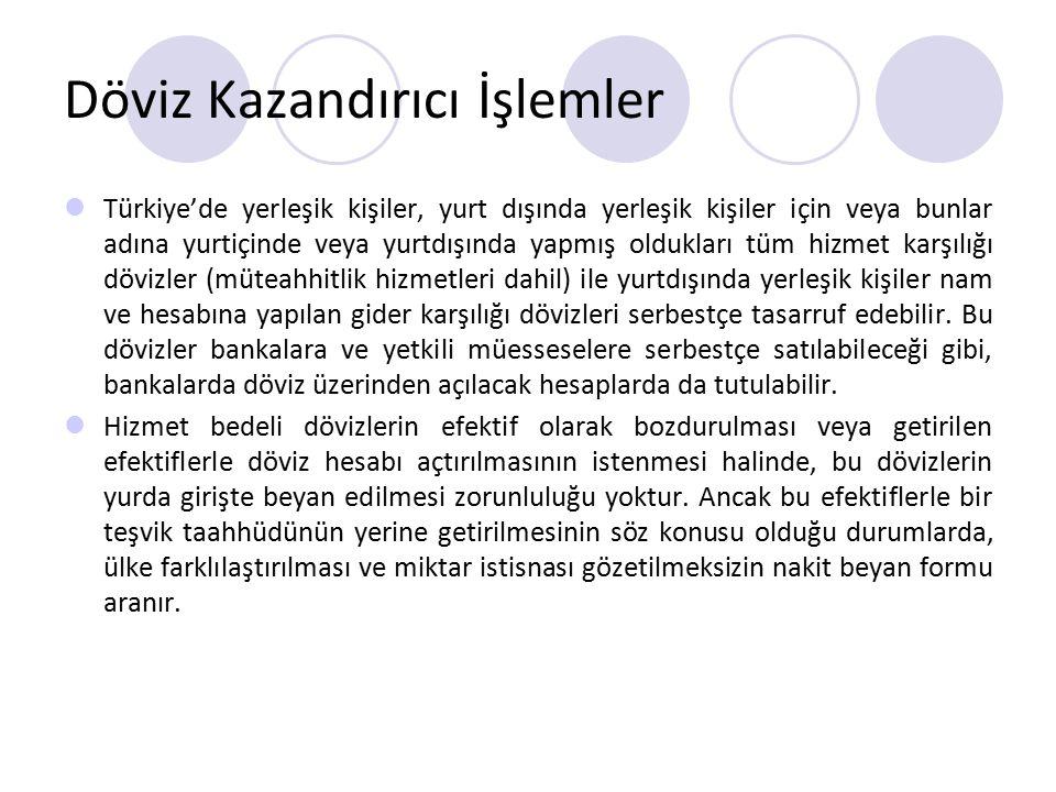 Döviz Kazandırıcı İşlemler Türkiye'de yerleşik kişiler, yurt dışında yerleşik kişiler için veya bunlar adına yurtiçinde veya yurtdışında yapmış oldukl