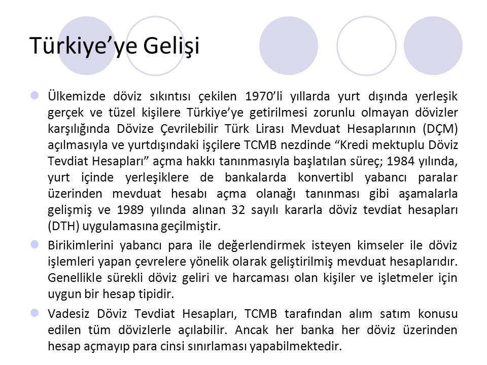 Türkiye'ye Gelişi Ülkemizde döviz sıkıntısı çekilen 1970'li yıllarda yurt dışında yerleşik gerçek ve tüzel kişilere Türkiye'ye getirilmesi zorunlu olm