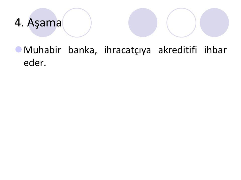 4. Aşama Muhabir banka, ihracatçıya akreditifi ihbar eder.