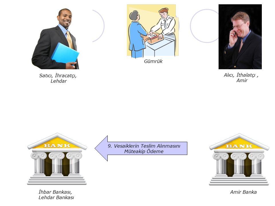 Satıcı, İhracatçı, Lehdar Alıcı, İthalatçı, Amir İhbar Bankası, Lehdar Bankası Amir Banka 9. Vesaiklerin Teslim Alınmasını Müteakip Ödeme Gümrük