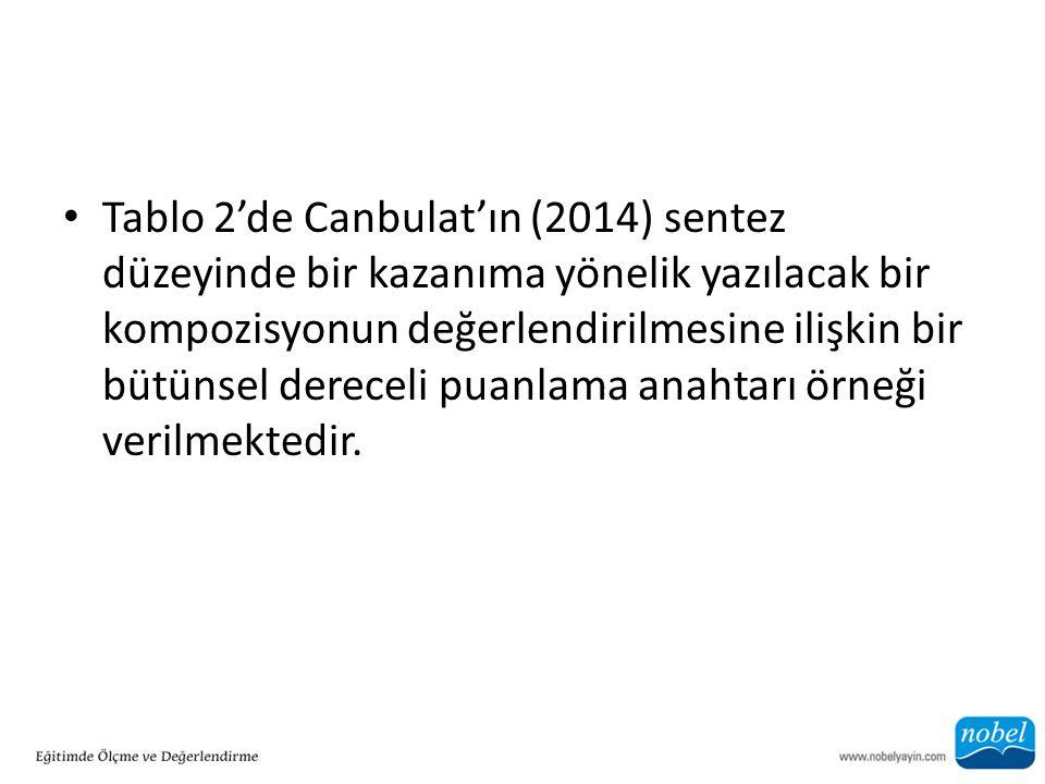 Tablo 2'de Canbulat'ın (2014) sentez düzeyinde bir kazanıma yönelik yazılacak bir kompozisyonun değerlendirilmesine ilişkin bir bütünsel dereceli puanlama anahtarı örneği verilmektedir.