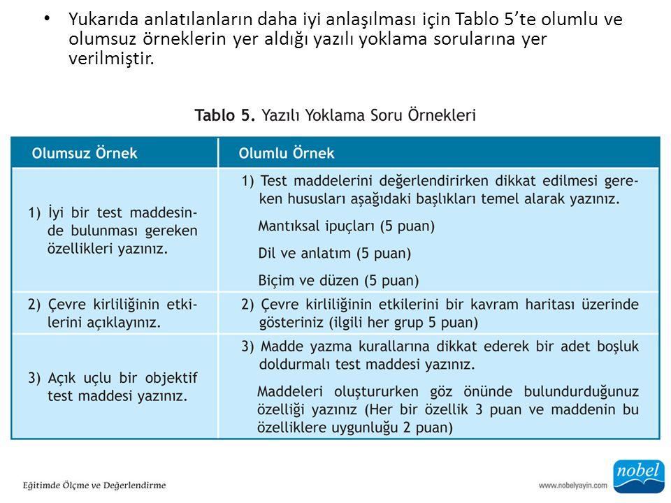 Yukarıda anlatılanların daha iyi anlaşılması için Tablo 5'te olumlu ve olumsuz örneklerin yer aldığı yazılı yoklama sorularına yer verilmiştir.