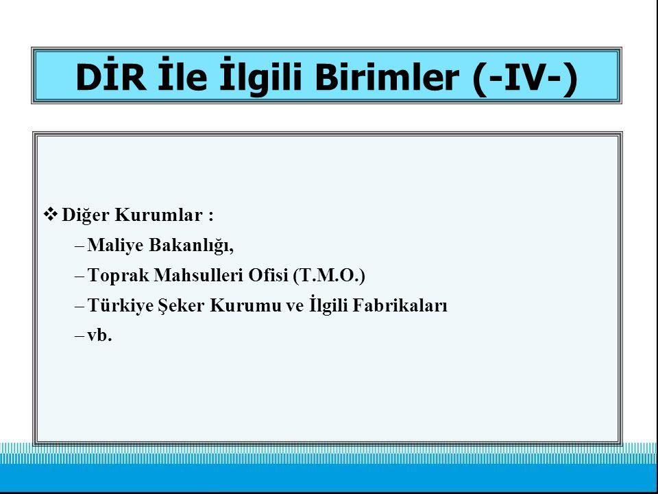 DİR İle İlgili Birimler (-IV-)  Diğer Kurumlar : –Maliye Bakanlığı, –Toprak Mahsulleri Ofisi (T.M.O.) –Türkiye Şeker Kurumu ve İlgili Fabrikaları –vb