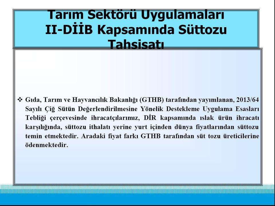 Tarım Sektörü Uygulamaları II-DİİB Kapsamında Süttozu Tahsisatı  Gıda, Tarım ve Hayvancılık Bakanlığı (GTHB) tarafından yayımlanan, 2013/64 Sayılı Çi