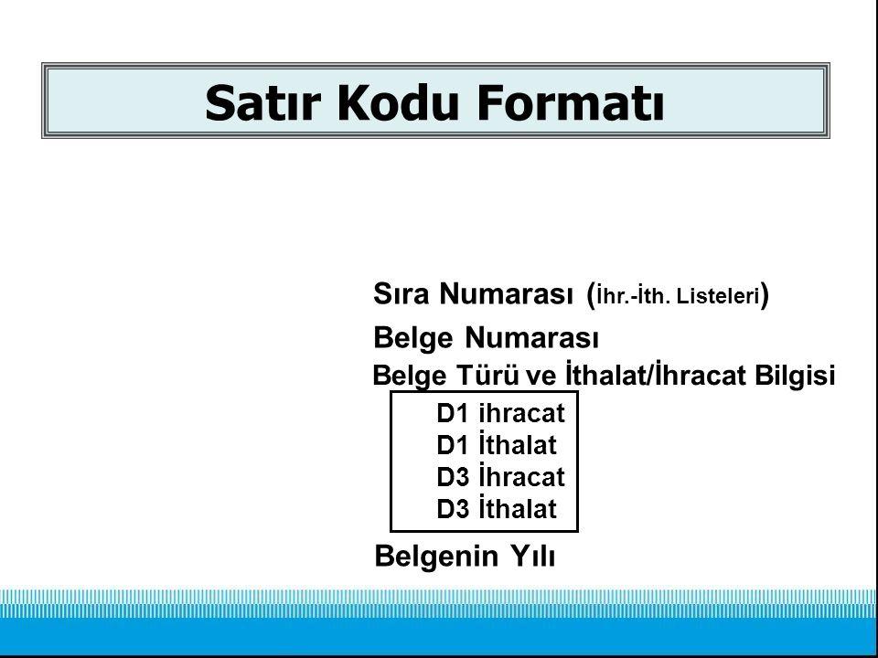 Satır Kodu Formatı 09.2.01234.002. Sıra Numarası ( İhr.-İth. Listeleri ) Belge Numarası Belgenin Yılı 1.D1 ihracat 2.D1 İthalat 3.D3 İhracat 4.D3 İtha