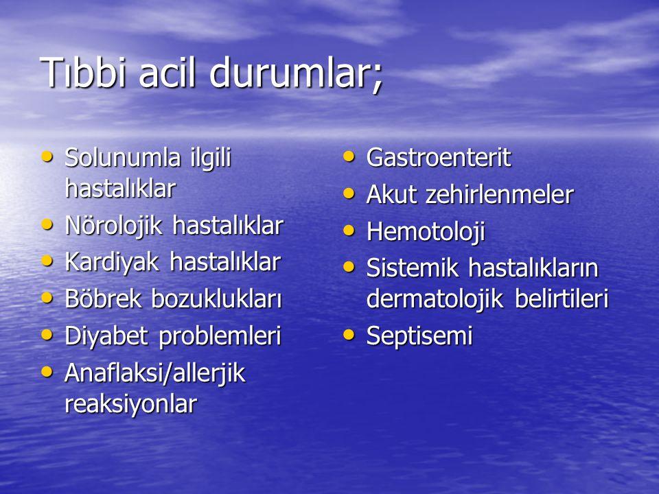 Tıbbi acil durumlar; Solunumla ilgili hastalıklar Solunumla ilgili hastalıklar Nörolojik hastalıklar Nörolojik hastalıklar Kardiyak hastalıklar Kardiyak hastalıklar Böbrek bozuklukları Böbrek bozuklukları Diyabet problemleri Diyabet problemleri Anaflaksi/allerjik reaksiyonlar Anaflaksi/allerjik reaksiyonlar Gastroenterit Gastroenterit Akut zehirlenmeler Akut zehirlenmeler Hemotoloji Hemotoloji Sistemik hastalıkların dermatolojik belirtileri Sistemik hastalıkların dermatolojik belirtileri Septisemi Septisemi