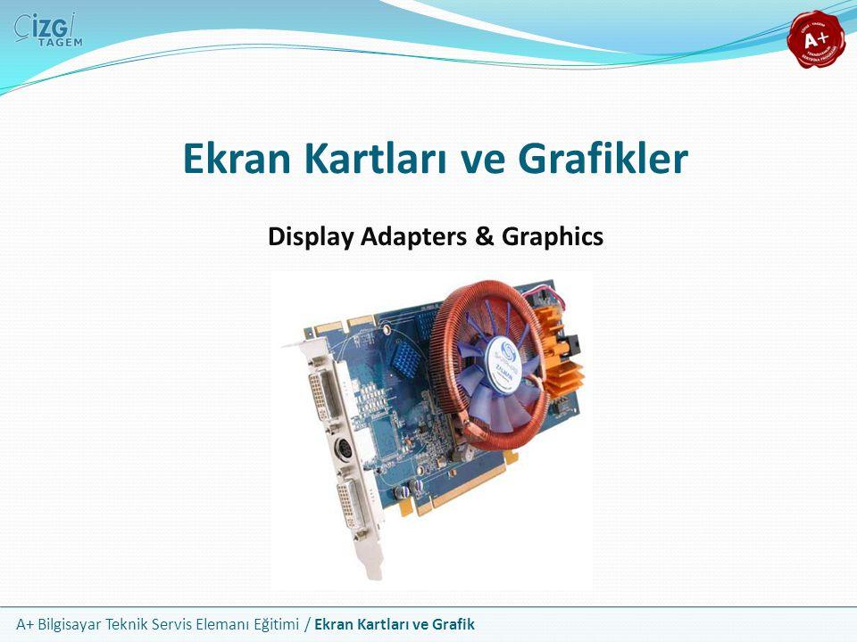 A+ Bilgisayar Teknik Servis Elemanı Eğitimi / Ekran Kartları ve Grafik Ekran Kartı Kavramı Ekran kartı, CPU dan gelen bilgiyi işleyip onu monitöre gönderen fiziksel donanımı ifade eder Çoğu masaüstü sistemde özel bir genişleme yuvasına takılan bir genişleme kartı şeklindedir Taşınabilir cihazlarda ve bazı masaüstü sistemlerde ise anakart üzerine entegre edilmiş şekildedir Çok farklı isimlerle anılsa da hepsi aynı kavramı ifade eder Grafik, görüntü veya video… Kart, bağdaştırıcı, adaptör veya birimi…