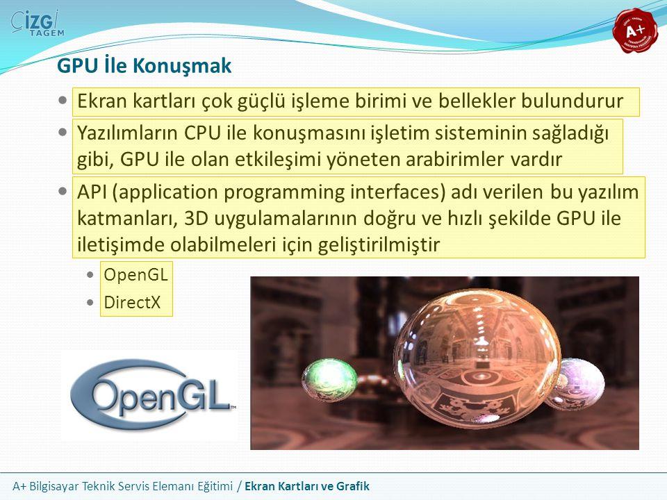 A+ Bilgisayar Teknik Servis Elemanı Eğitimi / Ekran Kartları ve Grafik GPU İle Konuşmak Ekran kartları çok güçlü işleme birimi ve bellekler bulundurur