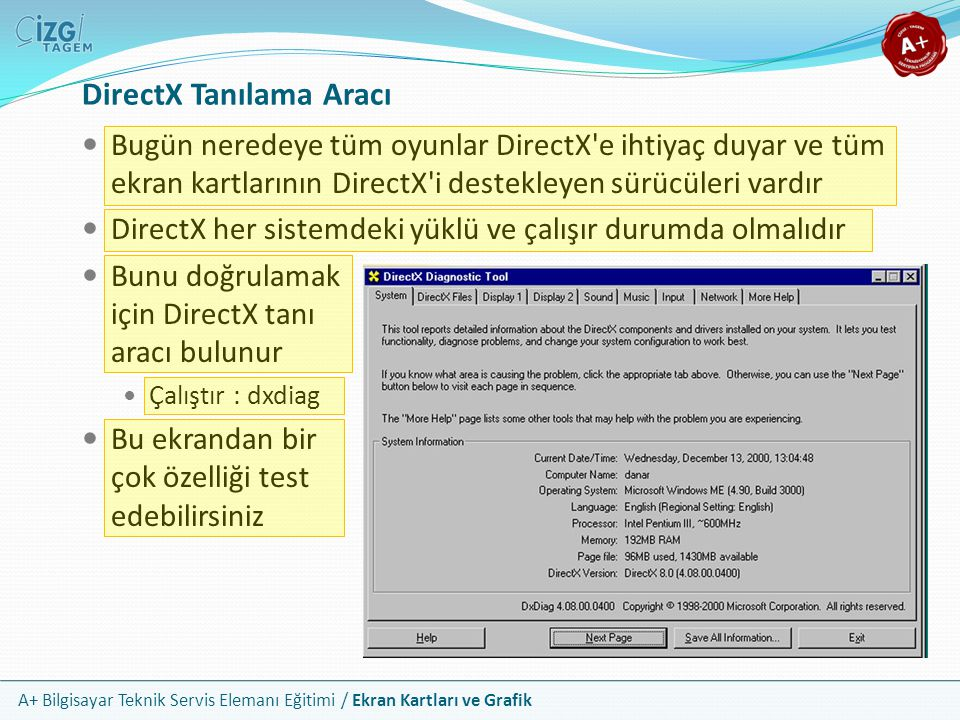 A+ Bilgisayar Teknik Servis Elemanı Eğitimi / Ekran Kartları ve Grafik DirectX Tanılama Aracı Bugün neredeye tüm oyunlar DirectX'e ihtiyaç duyar ve tü