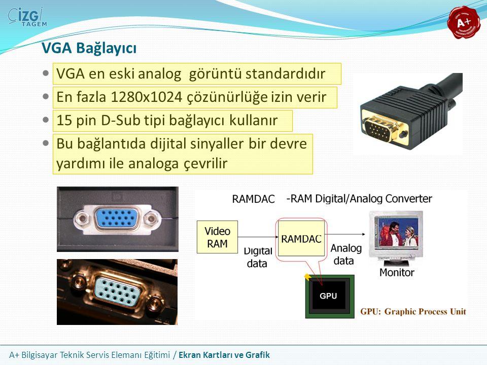 A+ Bilgisayar Teknik Servis Elemanı Eğitimi / Ekran Kartları ve Grafik VGA en eski analog görüntü standardıdır En fazla 1280x1024 çözünürlüğe izin ver