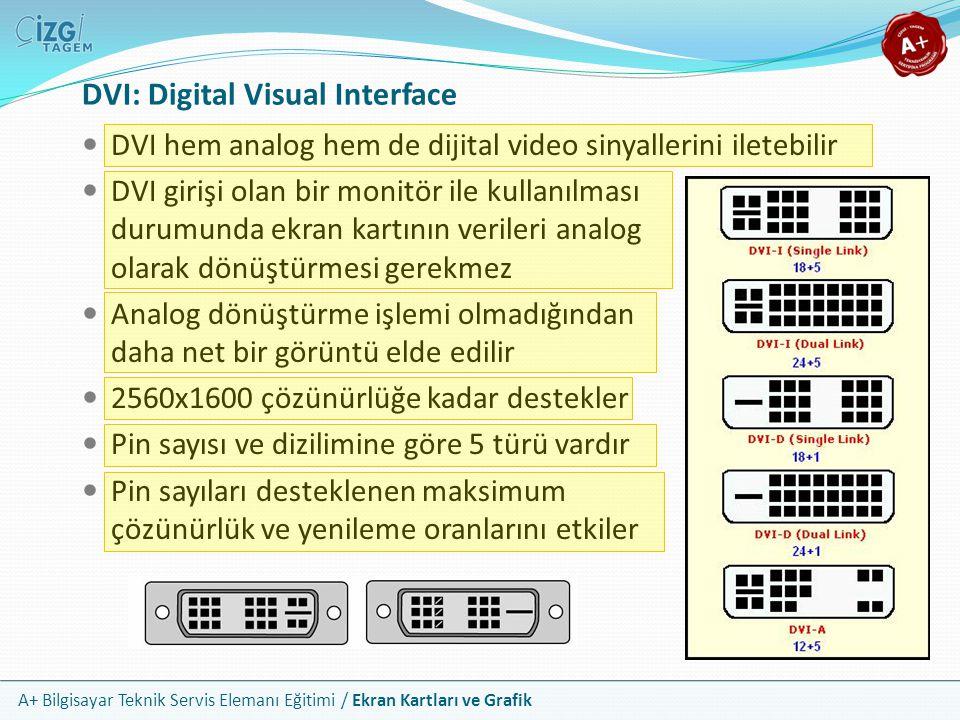 A+ Bilgisayar Teknik Servis Elemanı Eğitimi / Ekran Kartları ve Grafik DVI hem analog hem de dijital video sinyallerini iletebilir DVI girişi olan bir