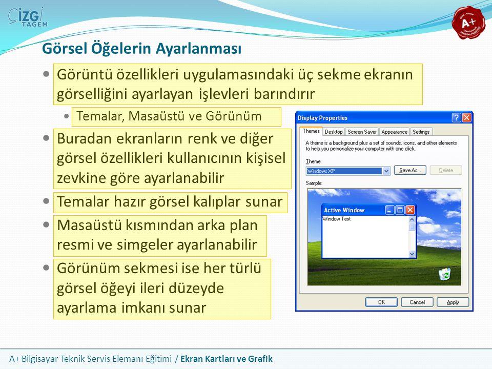 A+ Bilgisayar Teknik Servis Elemanı Eğitimi / Ekran Kartları ve Grafik Görüntü özellikleri uygulamasındaki üç sekme ekranın görselliğini ayarlayan işl