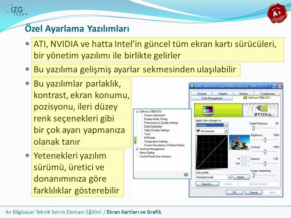A+ Bilgisayar Teknik Servis Elemanı Eğitimi / Ekran Kartları ve Grafik ATI, NVIDIA ve hatta Intel'in güncel tüm ekran kartı sürücüleri, bir yönetim ya