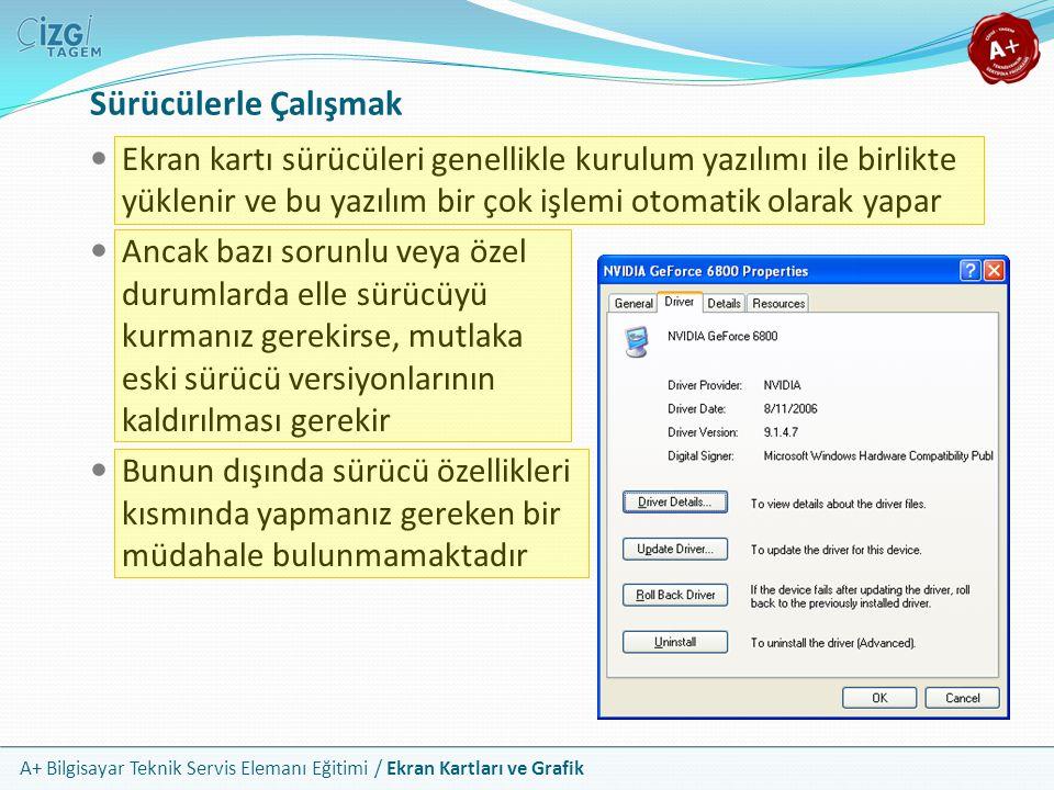 A+ Bilgisayar Teknik Servis Elemanı Eğitimi / Ekran Kartları ve Grafik Ekran kartı sürücüleri genellikle kurulum yazılımı ile birlikte yüklenir ve bu