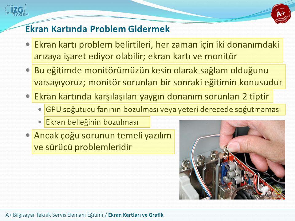 A+ Bilgisayar Teknik Servis Elemanı Eğitimi / Ekran Kartları ve Grafik Ekran Kartında Problem Gidermek Ekran kartı problem belirtileri, her zaman için