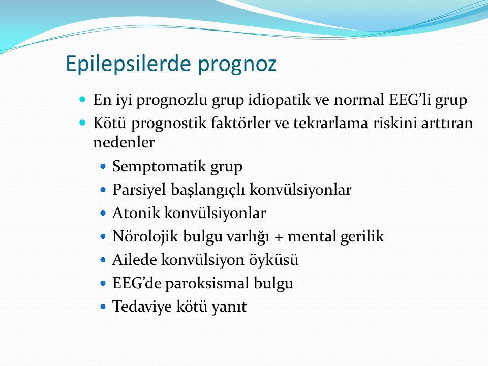 En iyi prognozlu grup idiopatik ve normal EEG'li grup Kötü prognostik faktörler ve tekrarlama riskini arttıran nedenler Semptomatik grup Parsiyel başlangıçlı konvülsiyonlar Atonik konvülsiyonlar Nörolojik bulgu varlığı + mental gerilik Ailede konvülsiyon öyküsü EEG'de paroksismal bulgu Tedaviye kötü yanıt Epilepsilerde prognoz