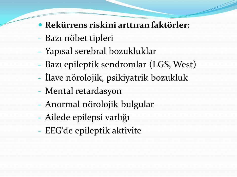 Rekürrens riskini arttıran faktörler: - Bazı nöbet tipleri - Yapısal serebral bozukluklar - Bazı epileptik sendromlar (LGS, West) - İlave nörolojik, psikiyatrik bozukluk - Mental retardasyon - Anormal nörolojik bulgular - Ailede epilepsi varlığı - EEG'de epileptik aktivite