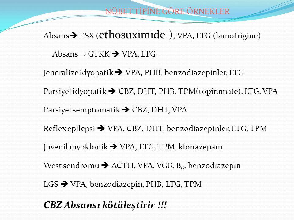 NÖBET TİPİNE GÖRE ÖRNEKLER Absans  ESX ( ethosuximide ), VPA, LTG (lamotrigine) Absans → GTKK  VPA, LTG Jeneralize idyopatik  VPA, PHB, benzodiazepinler, LTG Parsiyel idyopatik  CBZ, DHT, PHB, TPM(topiramate), LTG, VPA Parsiyel semptomatik  CBZ, DHT, VPA Reflex epilepsi  VPA, CBZ, DHT, benzodiazepinler, LTG, TPM Juvenil myoklonik  VPA, LTG, TPM, klonazepam West sendromu  ACTH, VPA, VGB, B 6, benzodiazepin LGS  VPA, benzodiazepin, PHB, LTG, TPM CBZ Absansı kötüleştirir !!!