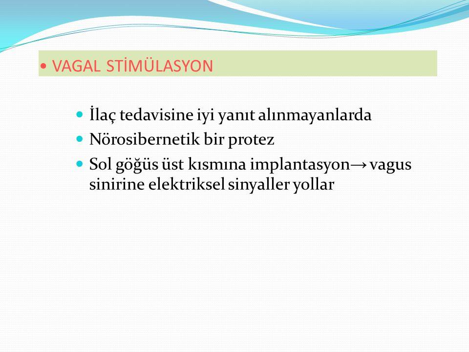 VAGAL STİMÜLASYON İlaç tedavisine iyi yanıt alınmayanlarda Nörosibernetik bir protez Sol göğüs üst kısmına implantasyon → vagus sinirine elektriksel sinyaller yollar