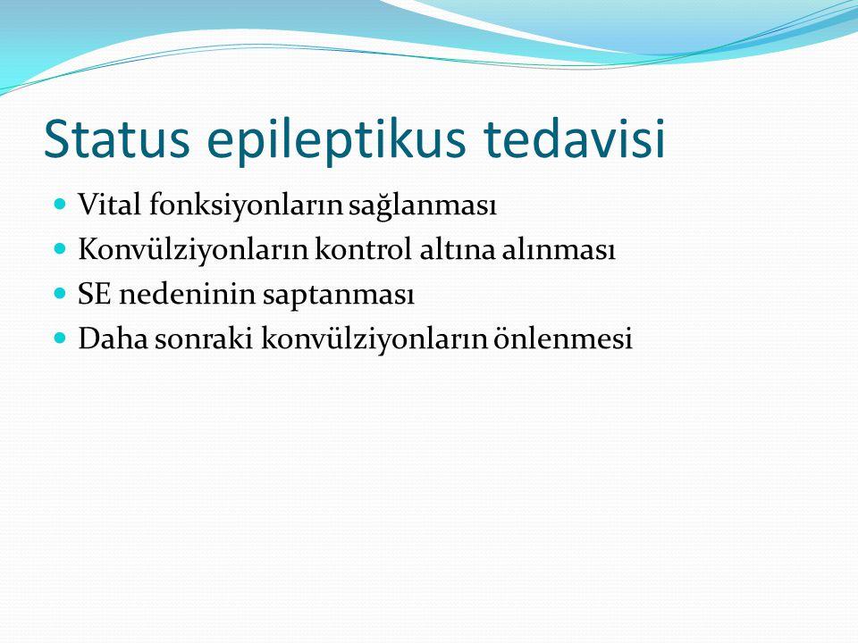 Status epileptikus tedavisi Vital fonksiyonların sağlanması Konvülziyonların kontrol altına alınması SE nedeninin saptanması Daha sonraki konvülziyonların önlenmesi
