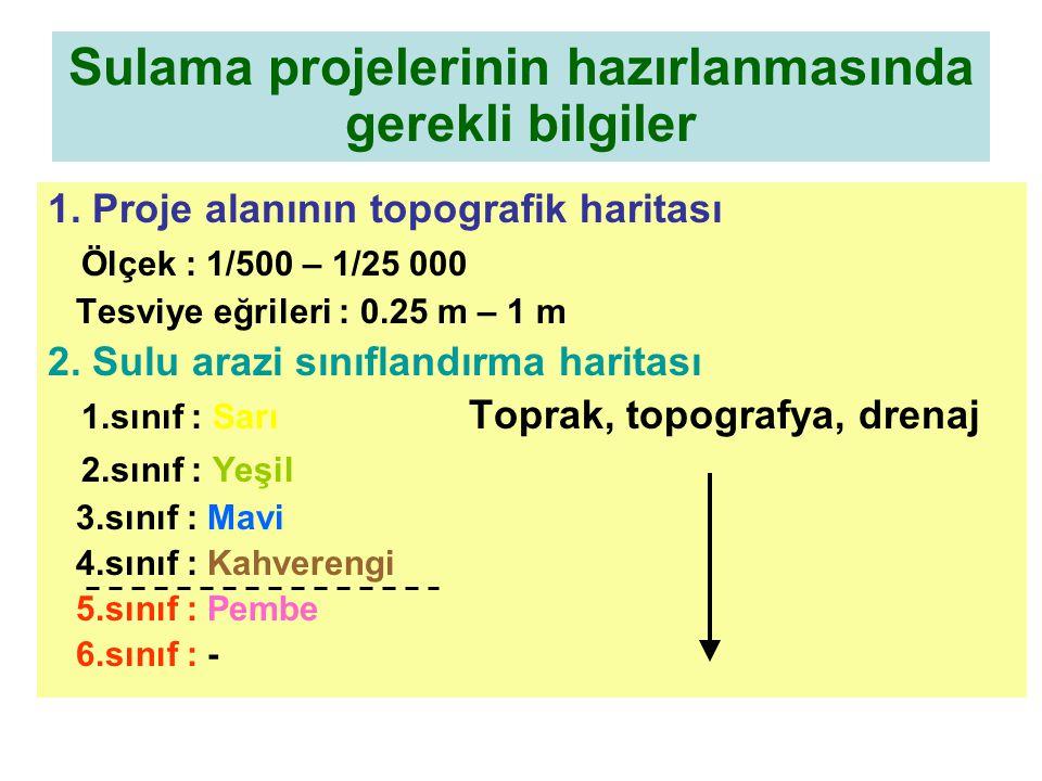 Sulama projelerinin hazırlanmasında gerekli bilgiler 1. Proje alanının topografik haritası Ölçek : 1/500 – 1/25 000 Tesviye eğrileri : 0.25 m – 1 m 2.