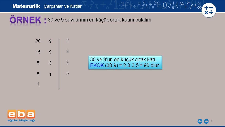 4 30 ve 9 sayılarının en küçük ortak katını bulalım. 30 15 5 3 5 3 5 2 Çarpanlar ve Katlar 1 30 ve 9'un en küçük ortak katı, EKOK (30,9) = 2.3.3.5 = 9