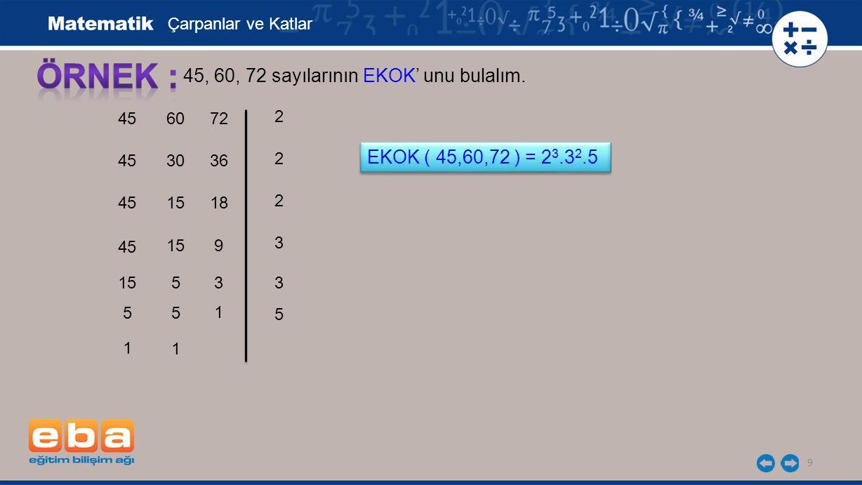 10 45, 60, 72 sayılarının EKOK' unu bulalım.