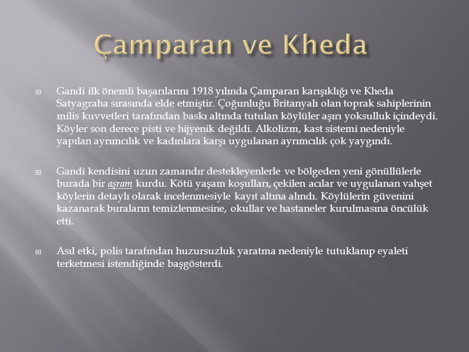  Gandi ilk önemli başarılarını 1918 yılında Çamparan karışıklığı ve Kheda Satyagraha sırasında elde etmiştir.