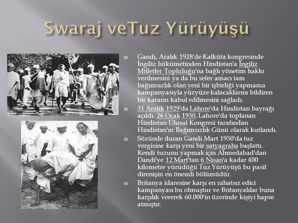  Gandi, Aralık 1928 de Kalküta kongresinde İngiliz hükümetinden Hindistan a İngiliz Milletler Topluluğu na bağlı yönetim hakkı verilmesini ya da bu sefer amacı tam bağımsızlık olan yeni bir işbirliği yapmama kampanyasıyla yüzyüze kalacaklarını bildiren bir kararın kabul edilmesini sağladı.