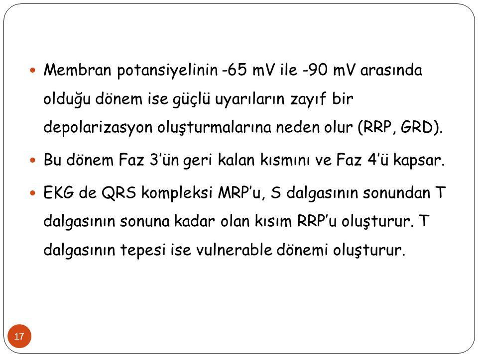 17 Membran potansiyelinin -65 mV ile -90 mV arasında olduğu dönem ise güçlü uyarıların zayıf bir depolarizasyon oluşturmalarına neden olur (RRP, GRD).