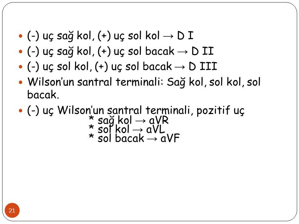 21 (-) uç sağ kol, (+) uç sol kol → D I (-) uç sağ kol, (+) uç sol bacak → D II (-) uç sol kol, (+) uç sol bacak → D III Wilson'un santral terminali: