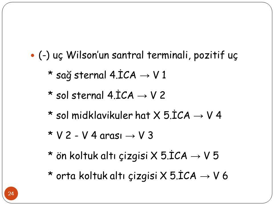 24 (-) uç Wilson'un santral terminali, pozitif uç * sağ sternal 4.İCA → V 1 * sol sternal 4.İCA → V 2 * sol midklavikuler hat X 5.İCA → V 4 * V 2 - V