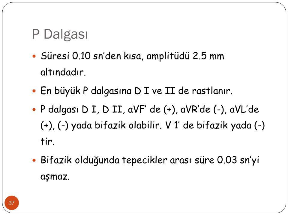P Dalgası 37 Süresi 0.10 sn'den kısa, amplitüdü 2.5 mm altındadır. En büyük P dalgasına D I ve II de rastlanır. P dalgası D I, D II, aVF' de (+), aVR'