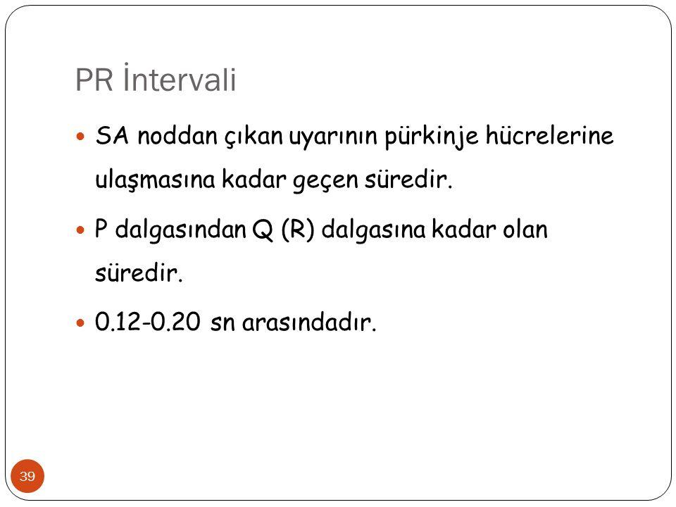 PR İntervali 39 SA noddan çıkan uyarının pürkinje hücrelerine ulaşmasına kadar geçen süredir. P dalgasından Q (R) dalgasına kadar olan süredir. 0.12-0