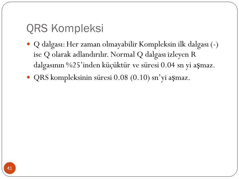 QRS Kompleksi 41 Q dalgası: Her zaman olmayabilir Kompleksin ilk dalgası (-) ise Q olarak adlandırılır. Normal Q dalgası izleyen R dalgasının %25'inde