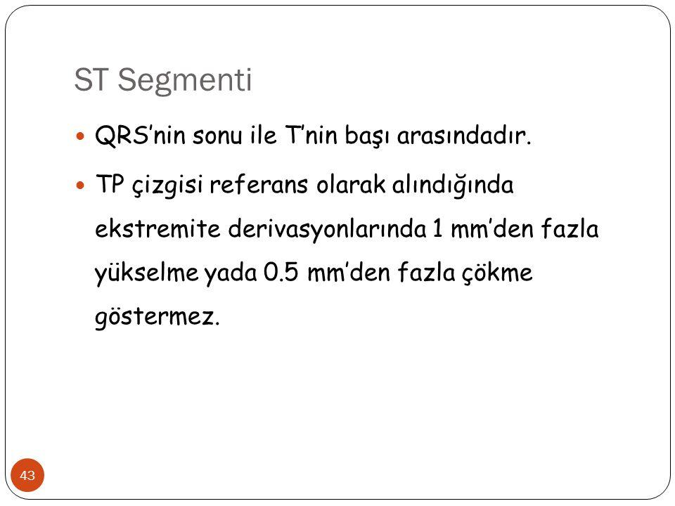 ST Segmenti 43 QRS'nin sonu ile T'nin başı arasındadır. TP çizgisi referans olarak alındığında ekstremite derivasyonlarında 1 mm'den fazla yükselme ya