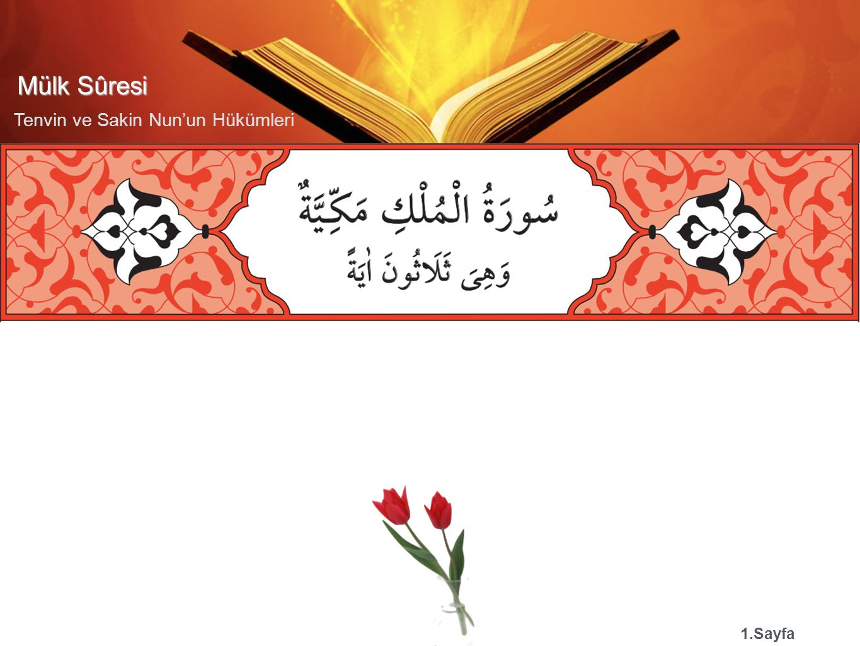 Mülk Sûresi Tenvin ve Sakin Nun'un Hükümleri 1.Sayfa