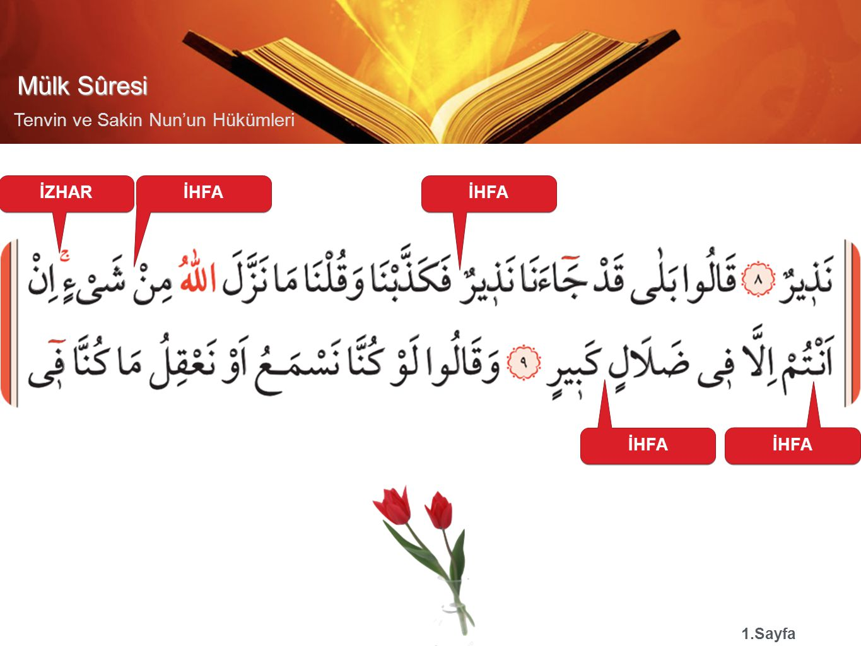Mülk Sûresi Tenvin ve Sakin Nun'un Hükümleri İDĞAM MĞ 3.Sayfa İZHAR İDĞAM MĞ