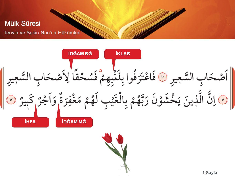 Mülk Sûresi Tenvin ve Sakin Nun'un Hükümleri İZHAR 3.Sayfa İHFAİDĞAM MĞ