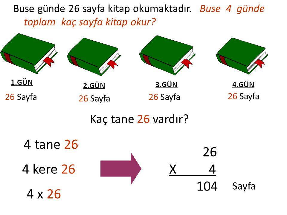 1.GÜN 26 Sayfa 2.GÜN 26 Sayfa 3.GÜN 26 Sayfa 4.GÜN 26 Sayfa 4 tane 26 4 kere 26 4 x 26 26 X 4 104 Sayfa Kaç tane 26 vardır? Buse günde 26 sayfa kitap