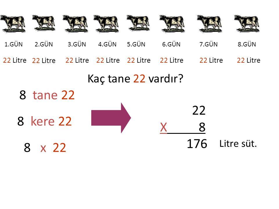 8.GÜN 1.GÜN7.GÜN6.GÜN5.GÜN4.GÜN3.GÜN2.GÜN 22 Litre 8 tane 22 8 kere 22 8 x 22 22 X 8 176 Litre süt. Kaç tane 22 vardır?