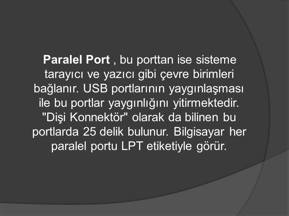 Paralel Port, bu porttan ise sisteme tarayıcı ve yazıcı gibi çevre birimleri bağlanır. USB portlarının yaygınlaşması ile bu portlar yaygınlığını yitir