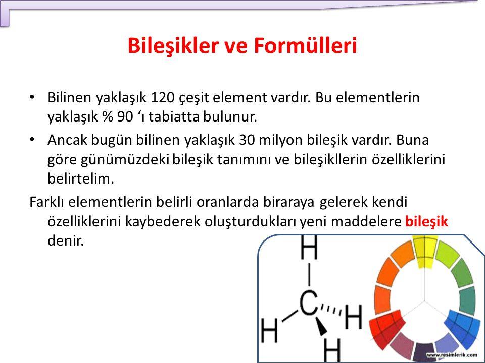 Bileşikler ve Formülleri Bilinen yaklaşık 120 çeşit element vardır. Bu elementlerin yaklaşık % 90 'ı tabiatta bulunur. Ancak bugün bilinen yaklaşık 30
