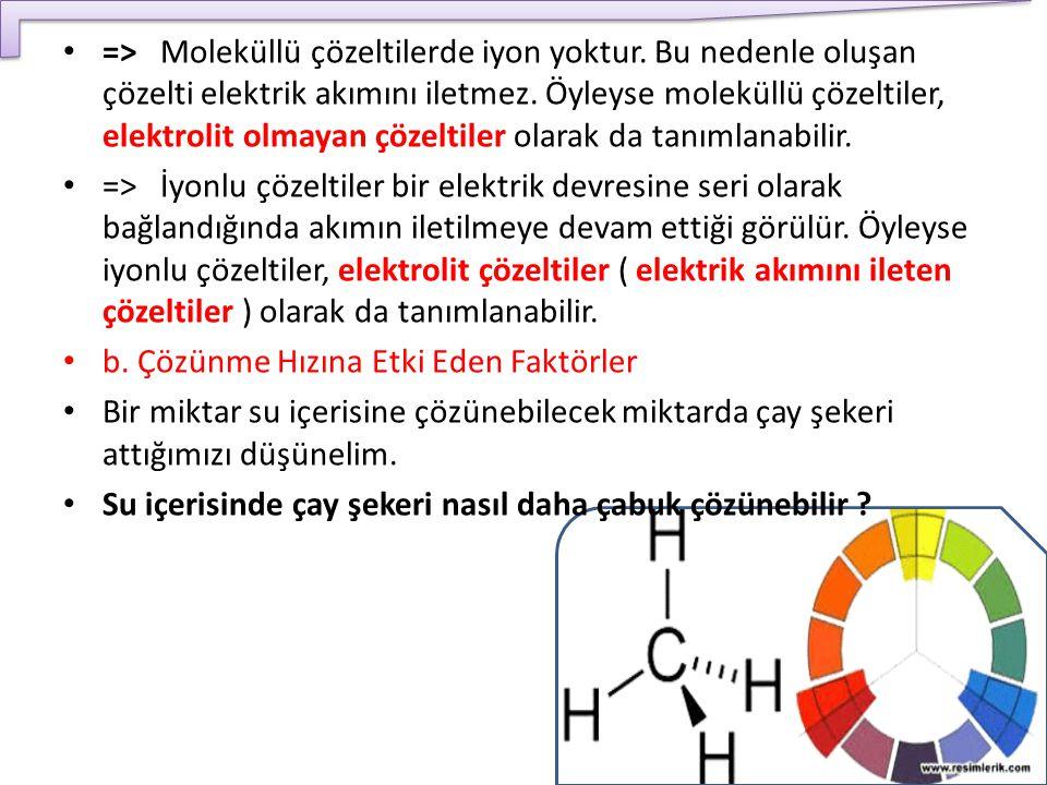 => Moleküllü çözeltilerde iyon yoktur. Bu nedenle oluşan çözelti elektrik akımını iletmez. Öyleyse moleküllü çözeltiler, elektrolit olmayan çözeltiler