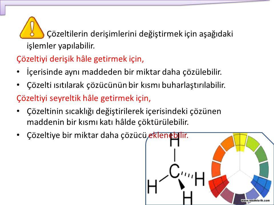 Çözeltilerin derişimlerini değiştirmek için aşağıdaki işlemler yapılabilir. Çözeltiyi derişik hâle getirmek için, İçerisinde aynı maddeden bir miktar