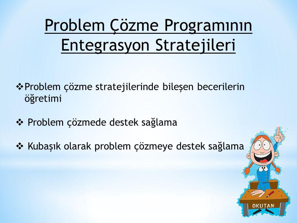 Problem Çözme Programının Entegrasyon Stratejileri  Problem çözme stratejilerinde bileşen becerilerin öğretimi  Problem çözmede destek sağlama  Kub