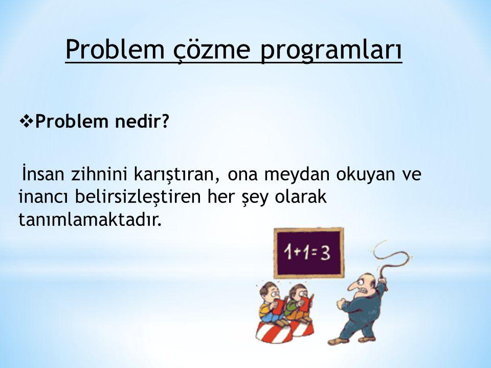 Problem çözme programları  Problem nedir? İnsan zihnini karıştıran, ona meydan okuyan ve inancı belirsizleştiren her şey olarak tanımlamaktadır.