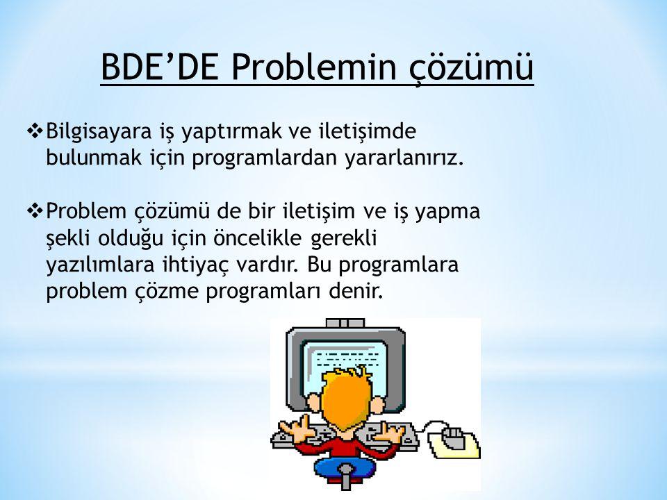 BDE'DE Problemin çözümü  Bilgisayara iş yaptırmak ve iletişimde bulunmak için programlardan yararlanırız.  Problem çözümü de bir iletişim ve iş yapm