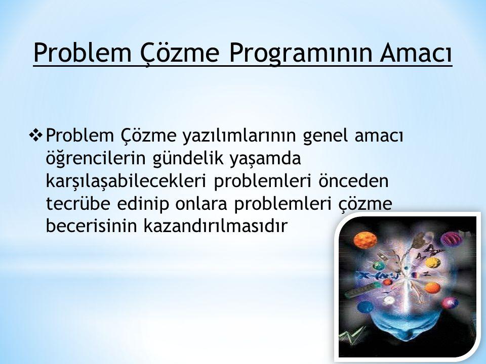 Problem Çözme Programının Amacı  Problem Çözme yazılımlarının genel amacı öğrencilerin gündelik yaşamda karşılaşabilecekleri problemleri önceden tecr