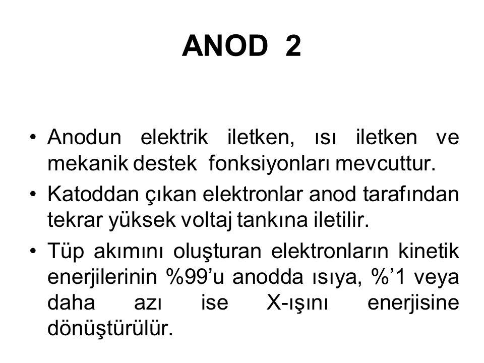 ANOD 1 X-ışını tüpünün pozitif elektrodudur. Anod x-ışınlarının oluşturduğu target denilen tungsten plak ve onun yerleştirildiği metalik destekten olu
